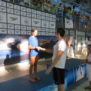 תום על הפודיום וברכות משיאן ישראל ב-50 מטר גב, יונתן קופלב